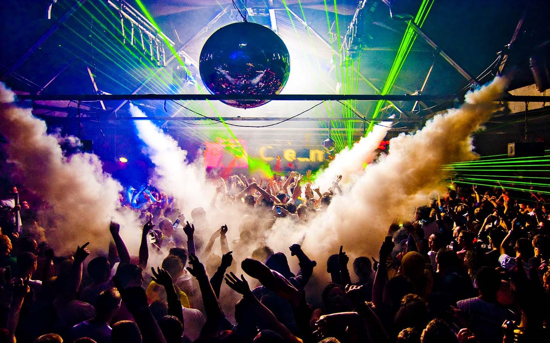 partying in a nightclub