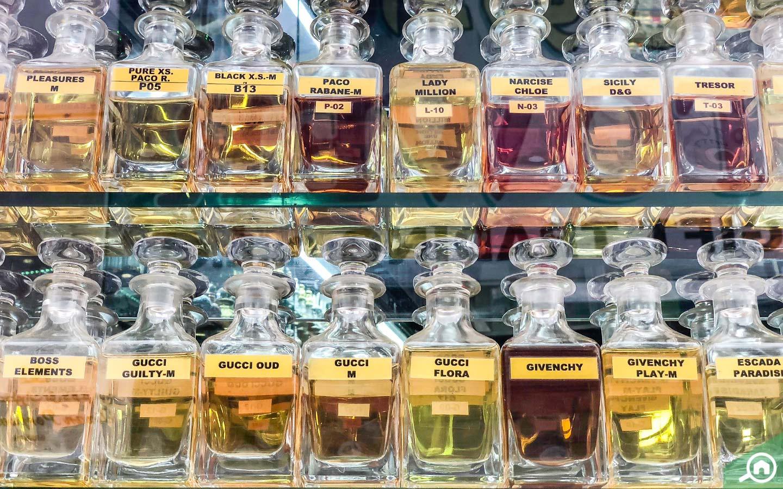 perfume bottles in perfume souk in dubai