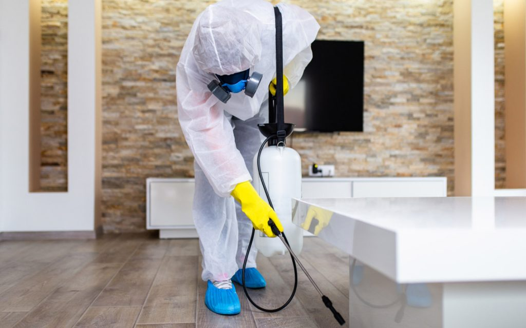 Man in hazmat suit spraying insecticide at home