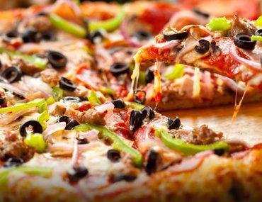 crunchy, cheesy pizza