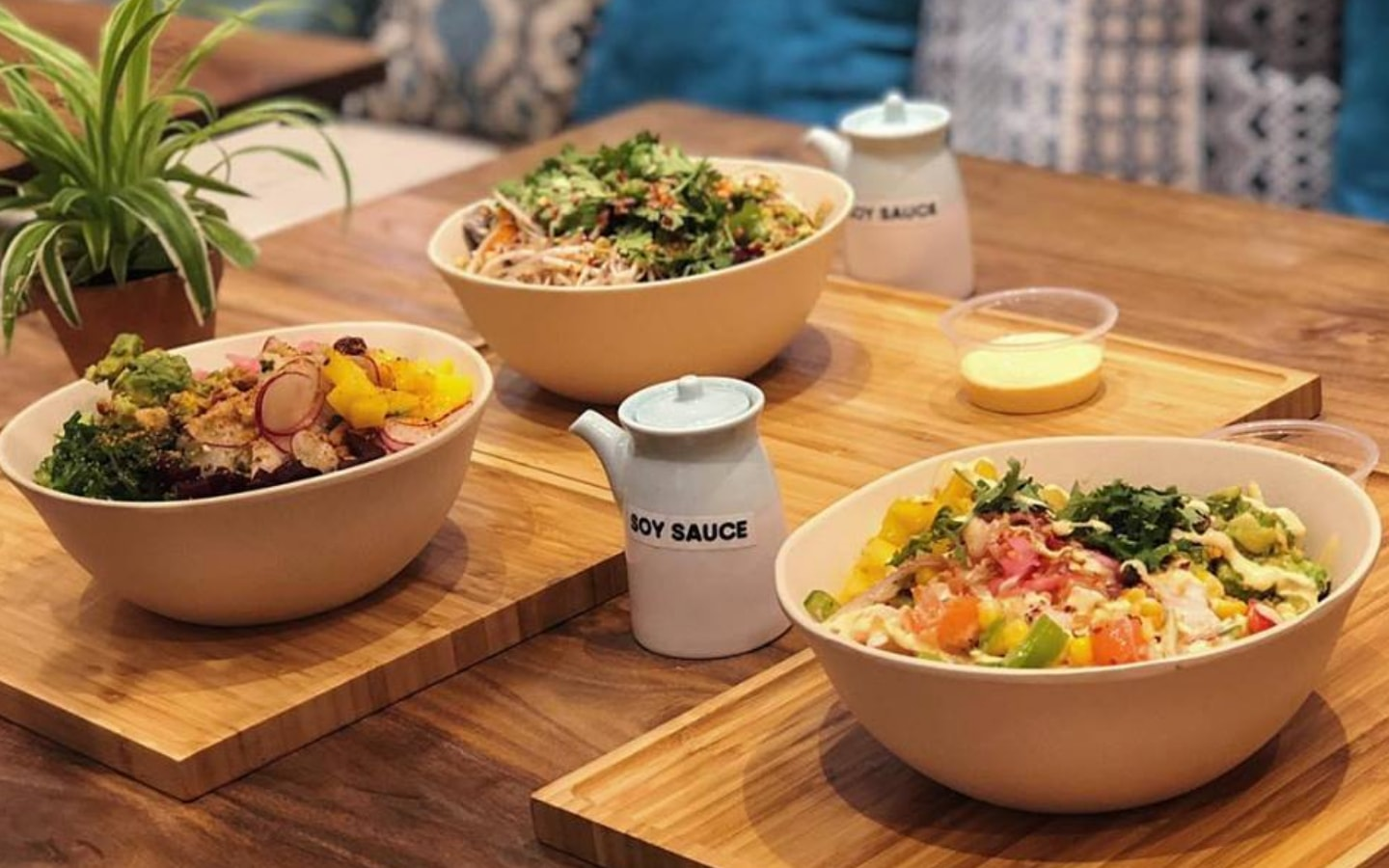 view of poke bowls from Poke and Co, one of healthy restaurants in Dubai