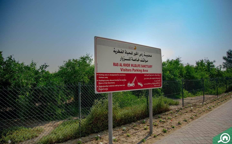 Parking area at Ras Al Khor Sanctuary