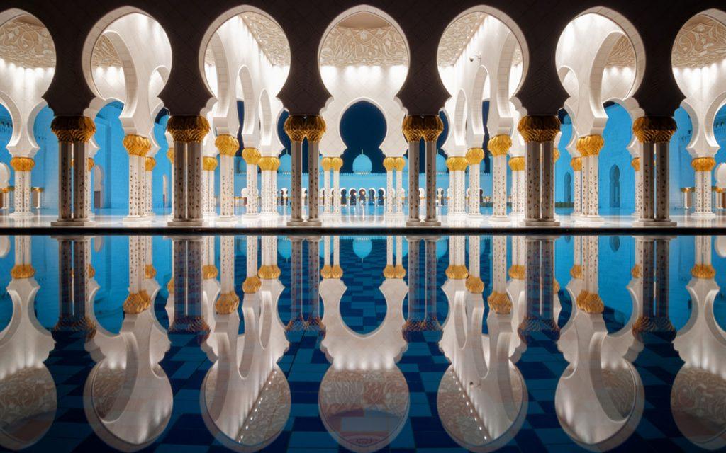 reflective pools in Sheikh Zayed Mosque Abu Dhabi