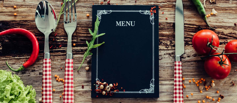 Restaurant menu on rustic table