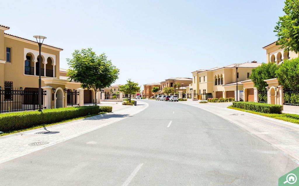 Street view of villas in Saadiyat Island