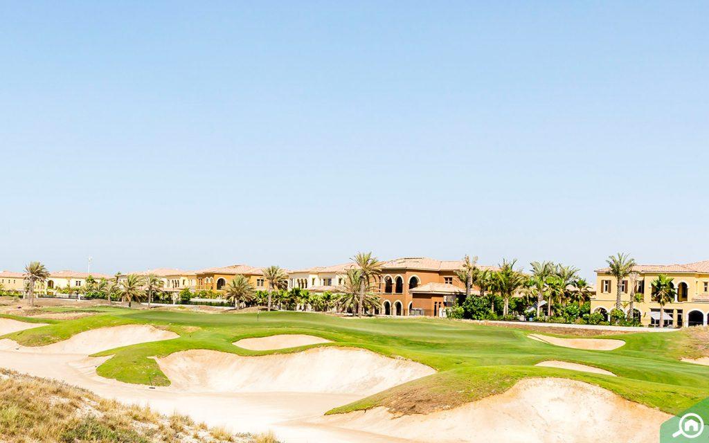 Golf course facing villas in Saadiyat Island