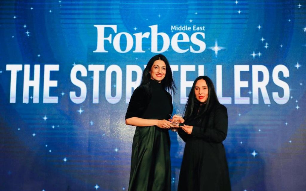 Sahar Khan winning the Forbes ME award