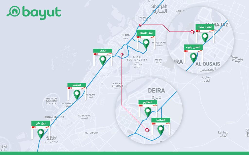 خريطة بوابات سالك دبي