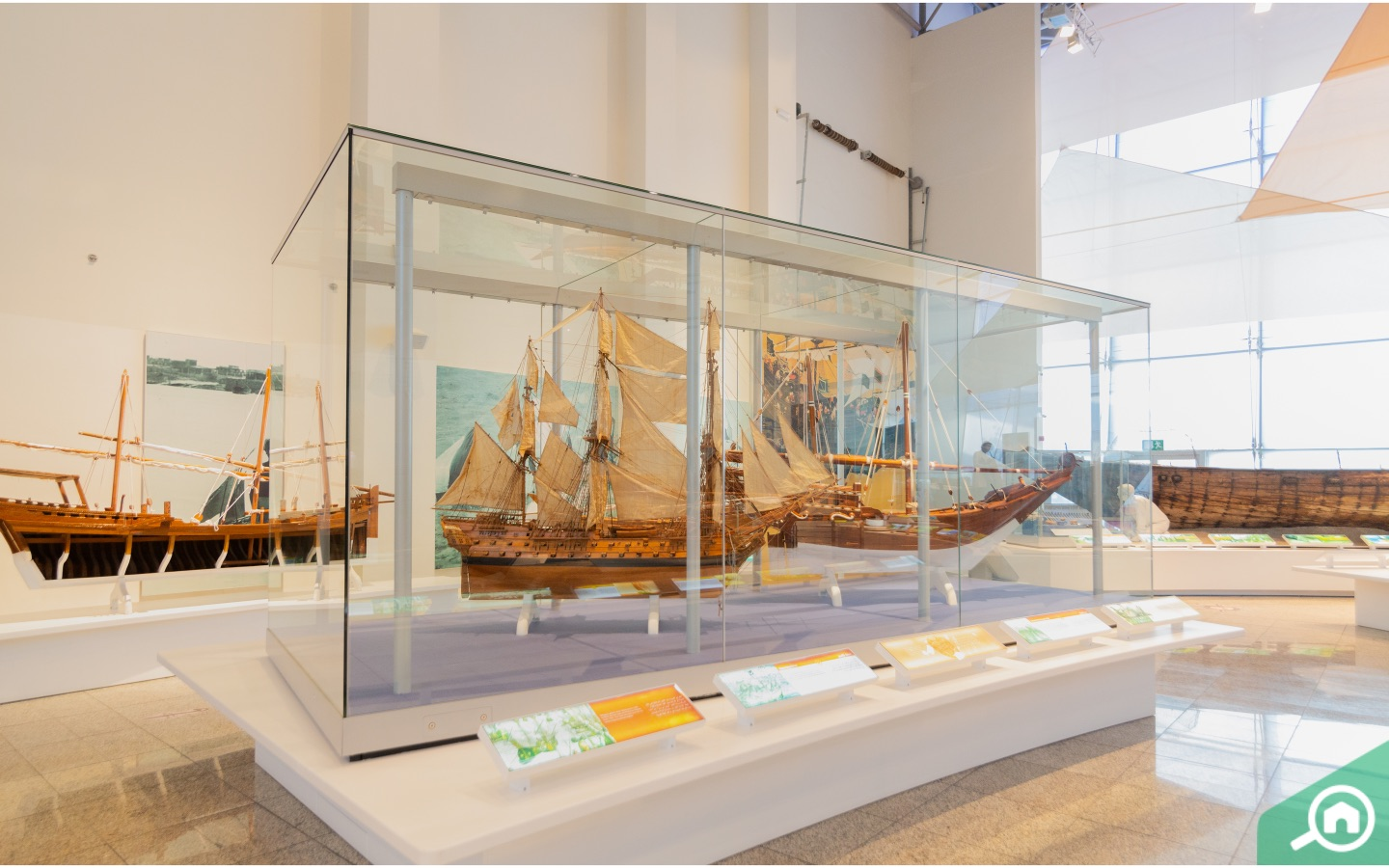 Replica of marine ships in a museum