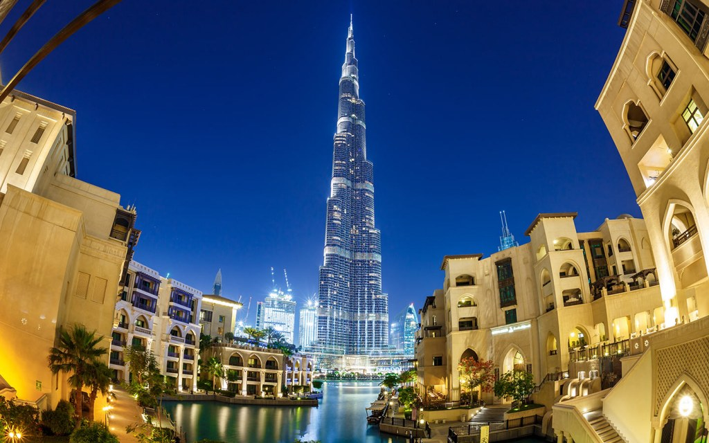 The Burj Khalifa at night from Old Town, Downtown Dubai.