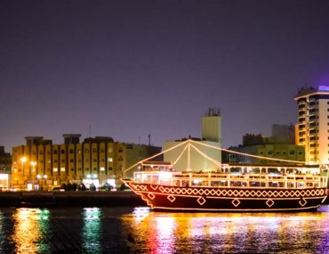 Dinner cruises in Dubai in a dhow at night
