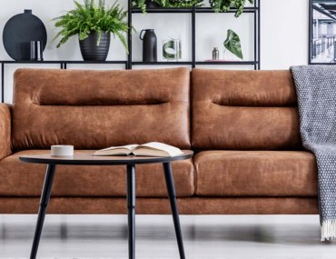 Leather furniture care for Dubai homes, brown leather couch in living room