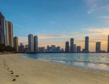 footprints on Sharjah shoreline