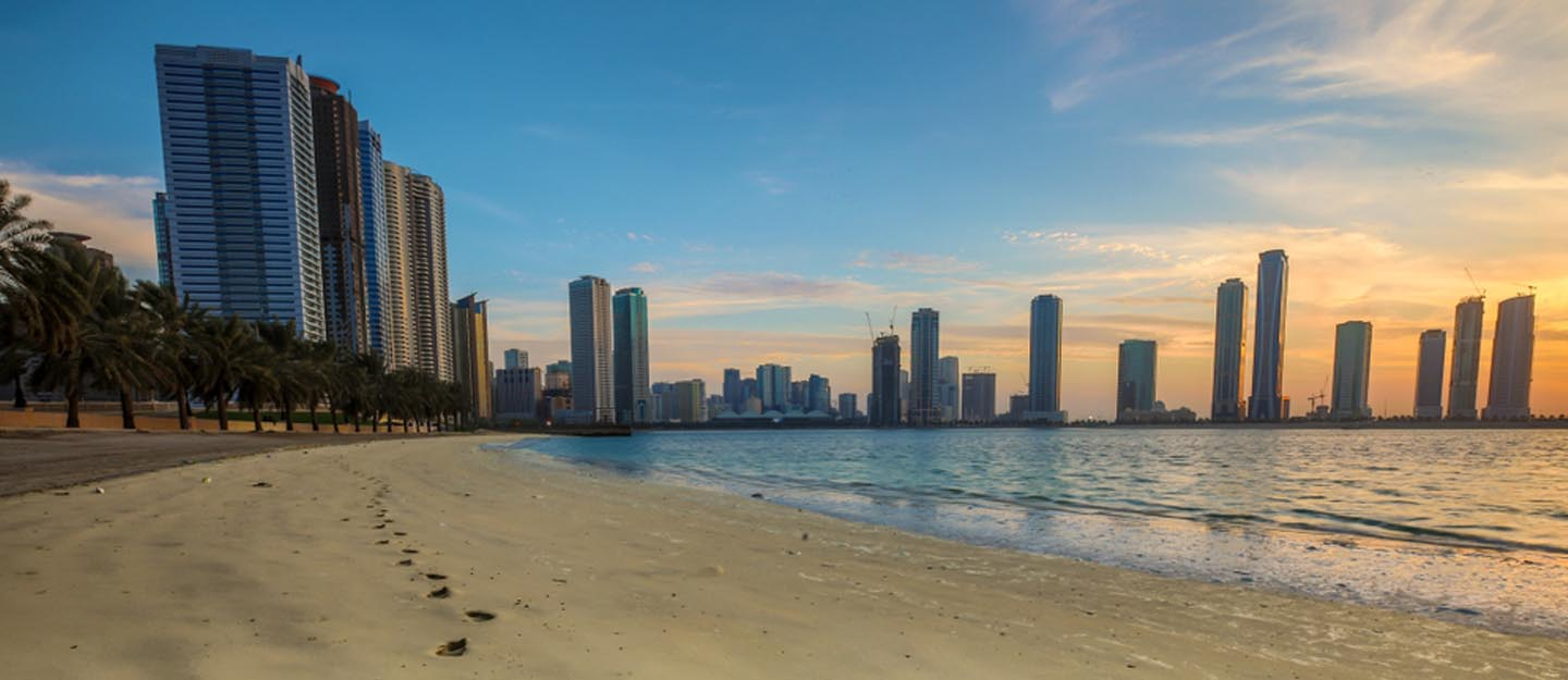 footprints on Sharjah shoreline