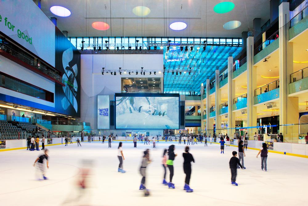 Twelve Epic Ways to Beat the Heat in Dubai this Summer: ice skating at Dubai Ice Rink Dubai Mall