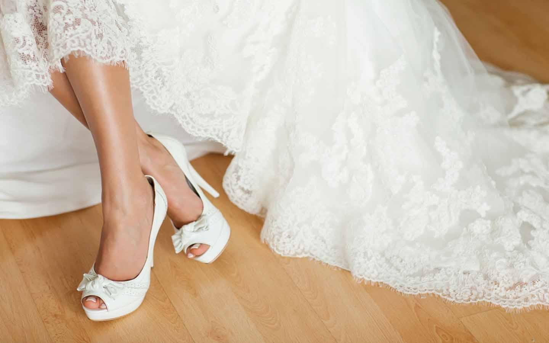 white dress and white stilettos