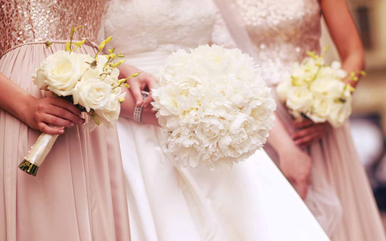 a bride with bridesmaids