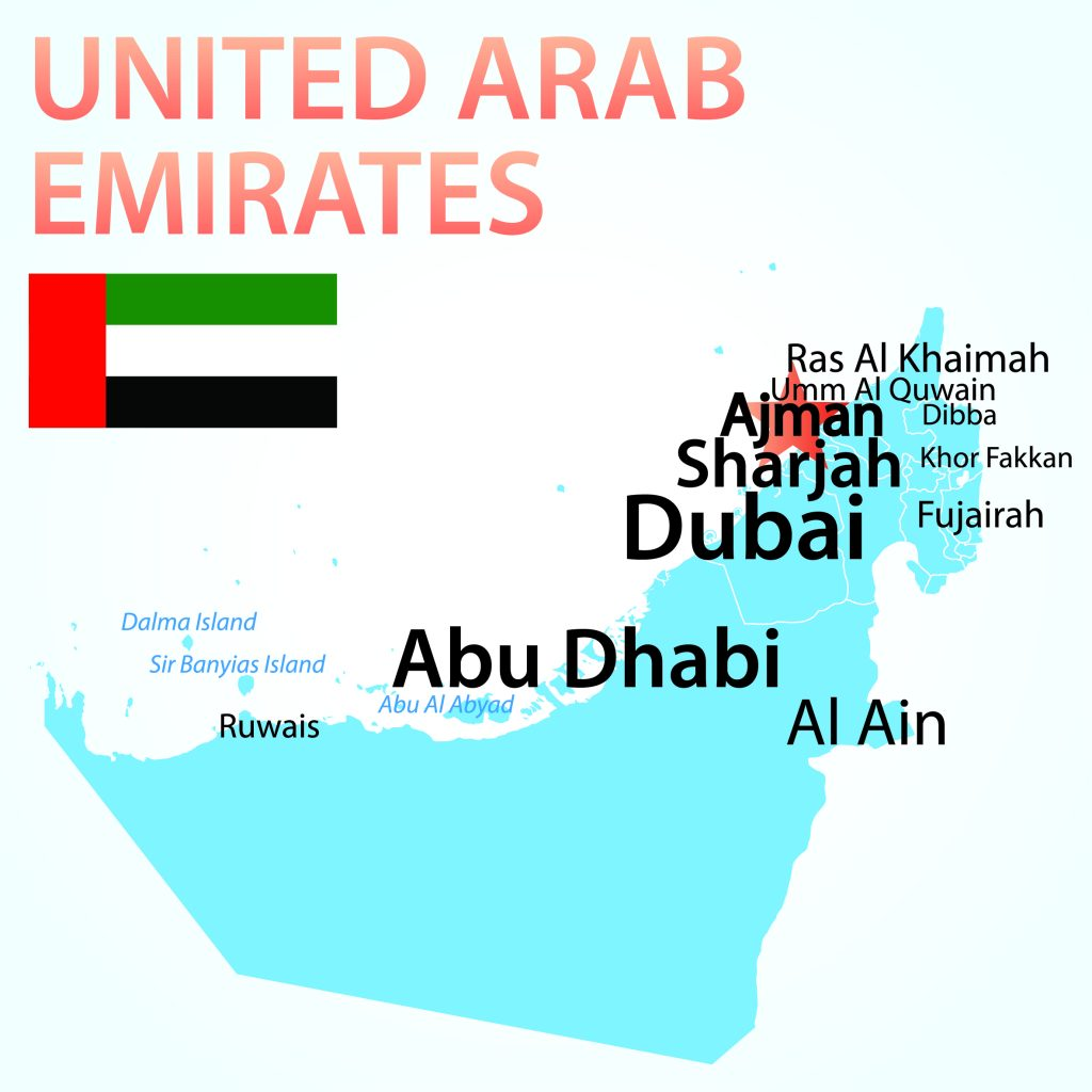 Map of the United Arab Emirates with Ajman highlighted with a red star