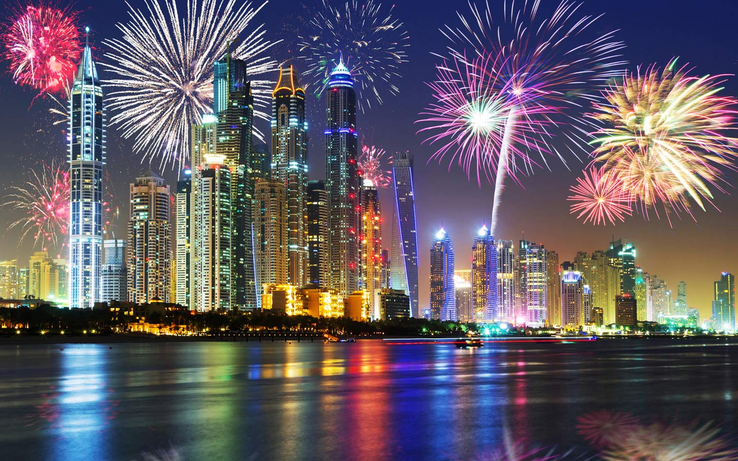 Fireworks at JBR Beach for New Year's Eve celebrations in Dubai
