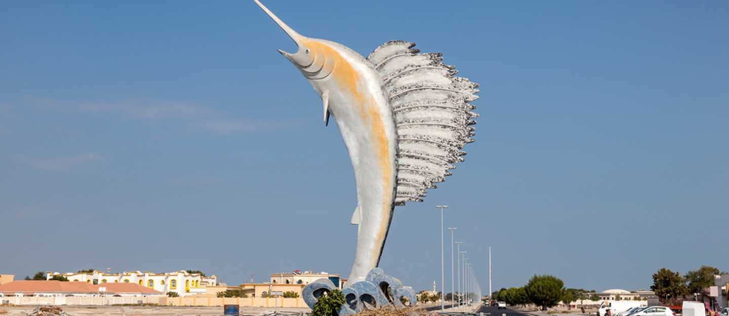 Sailfish monument on a roundabout in Umm al Quwain