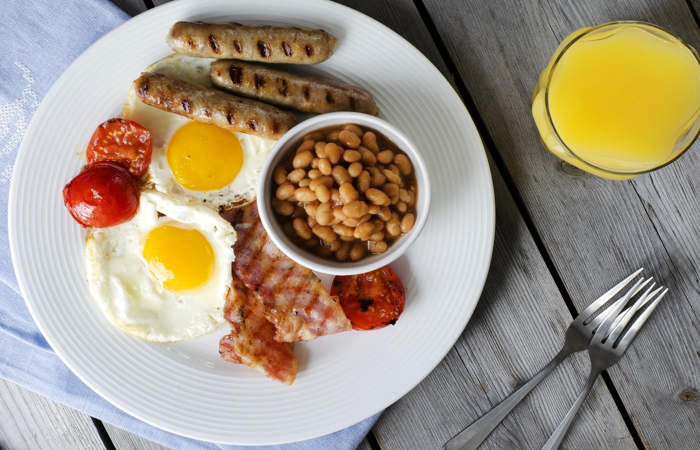 Beans, eggs, Sausage, British Breakfast