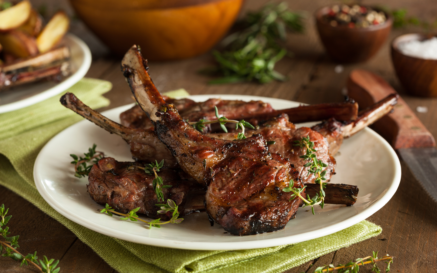 Piping hot Lamb chops topped with lime