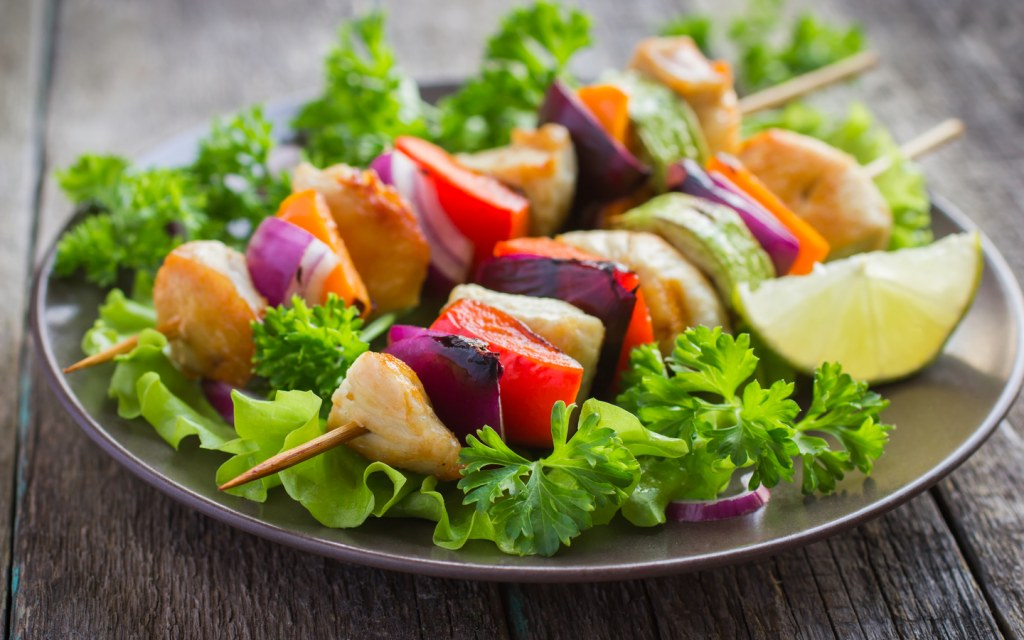 grilled chicken and vegetable sticks