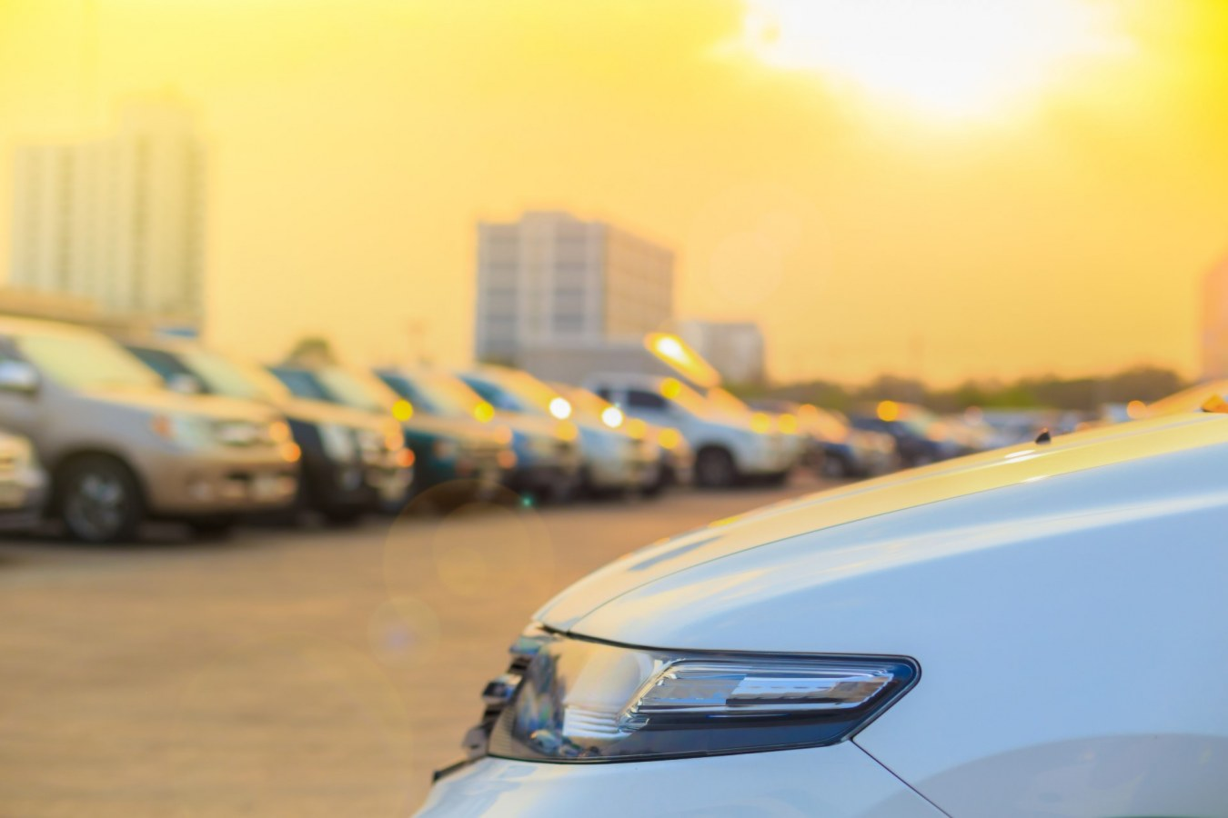cars parked under scorching sun