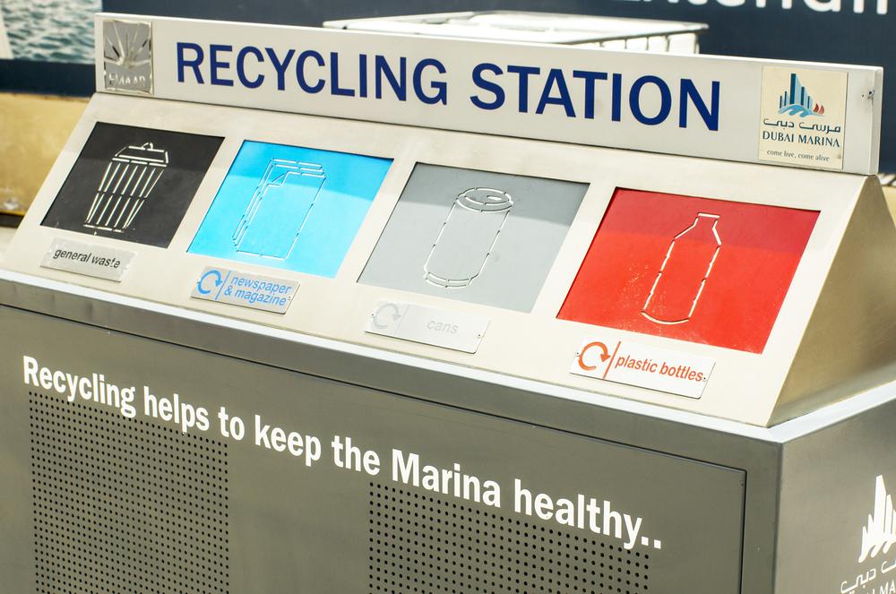 A grey recycling station in Dubai Marina, Dubai