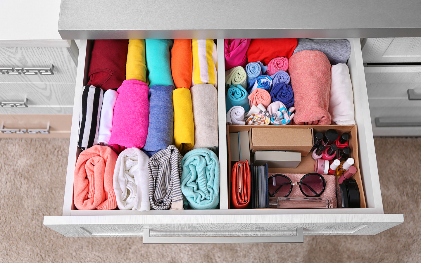 Keep folded shirts in drawer
