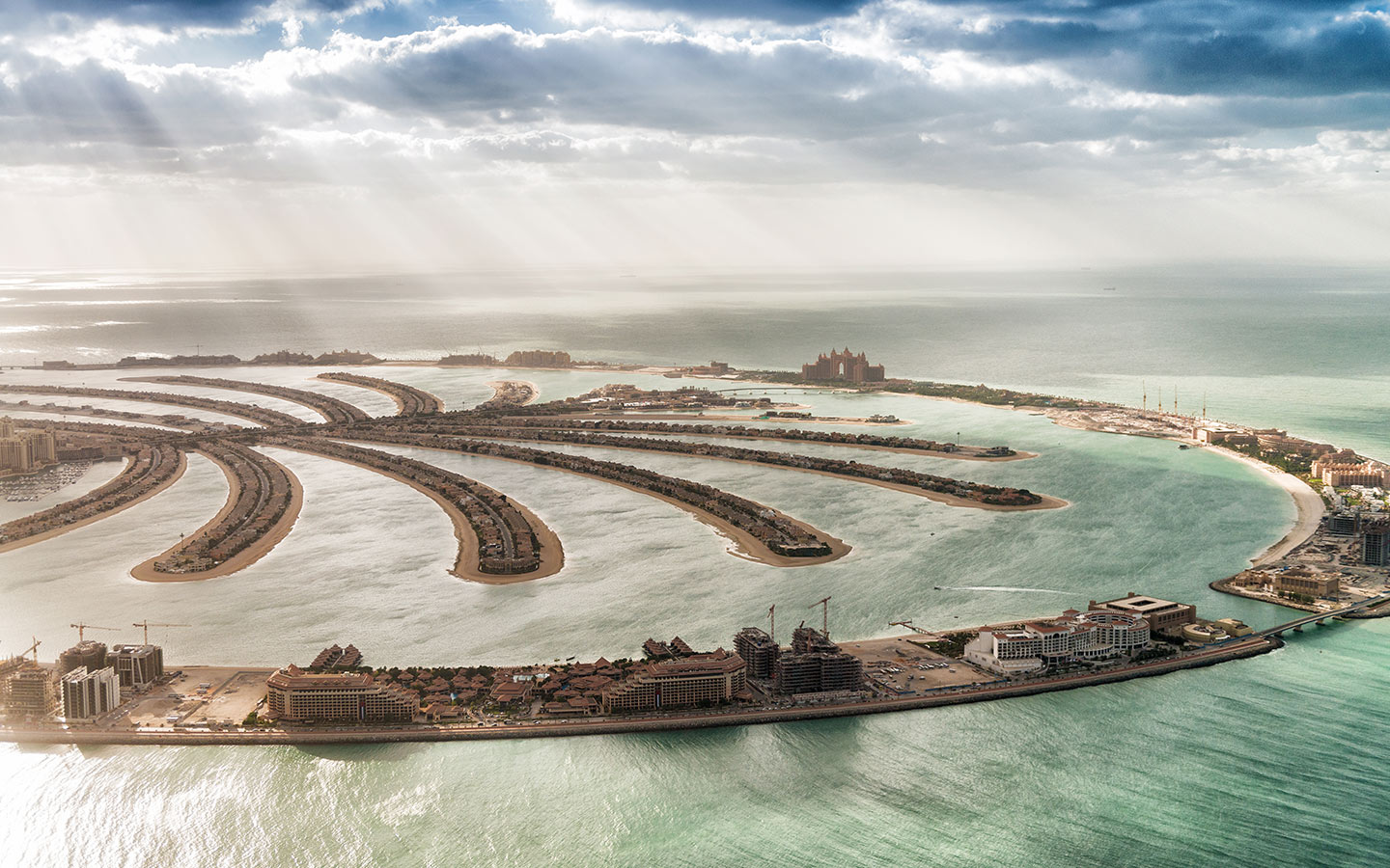 The Palm Jumeirah in Dubai known for its waterfront properties