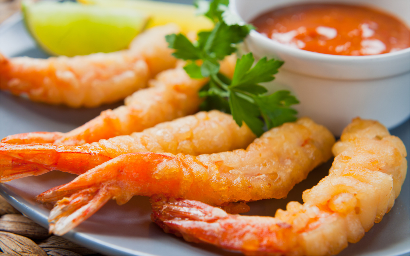 Picture with crispy and tasty tiger prawns from a restaurant in Business Bay