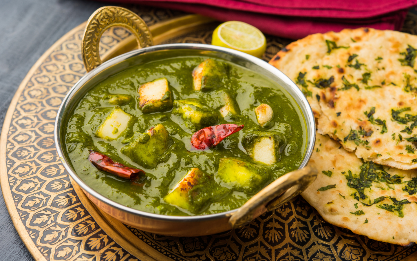 Palak Paneer served with naan