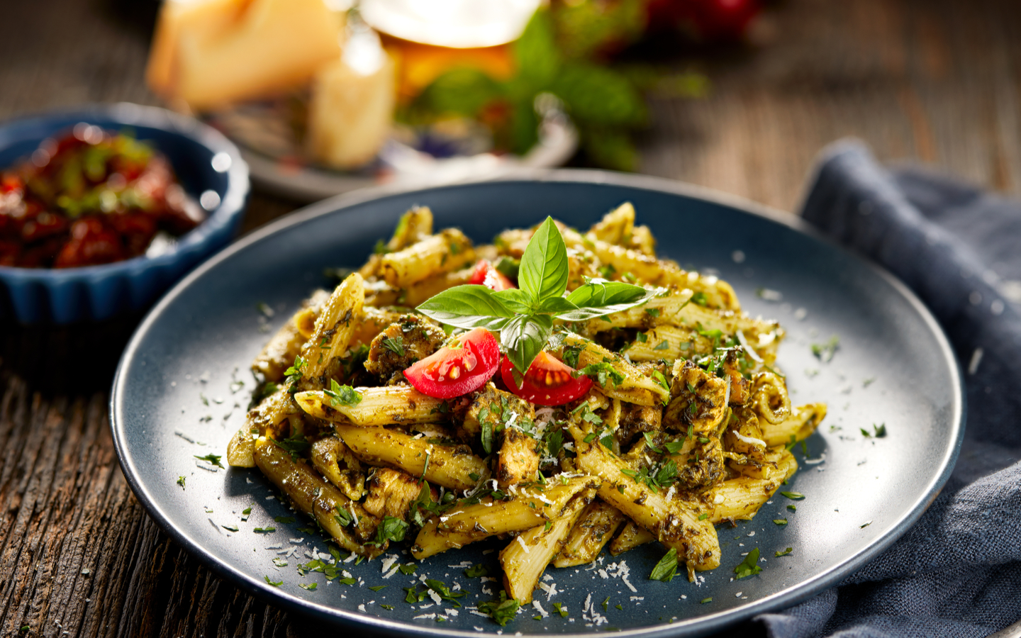 A plate of healthy Penne Pasta for health conscious people by UNDER500 restaurant