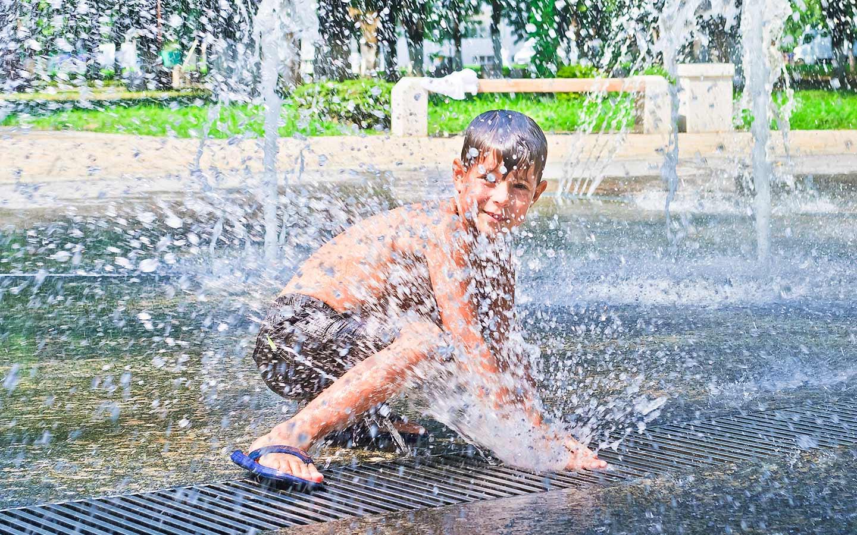 splashing around in a water park
