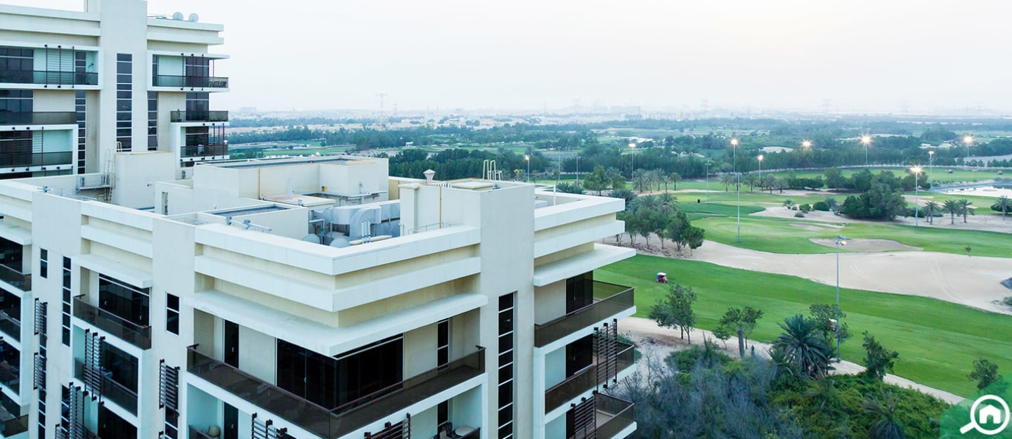 View from Al Rayyana apartments of the golf course