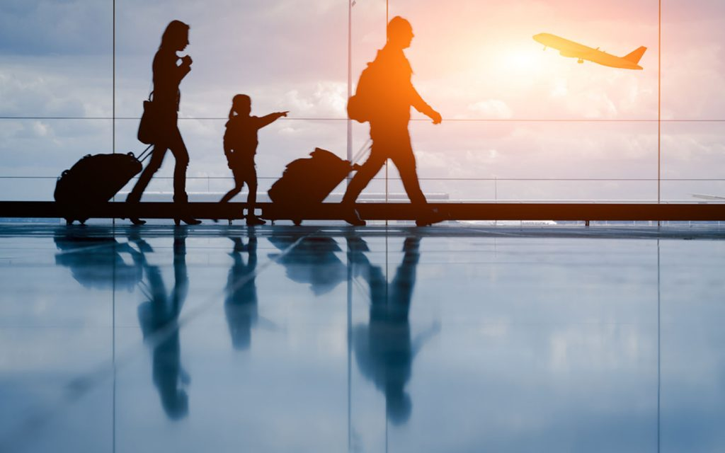 small family at airport