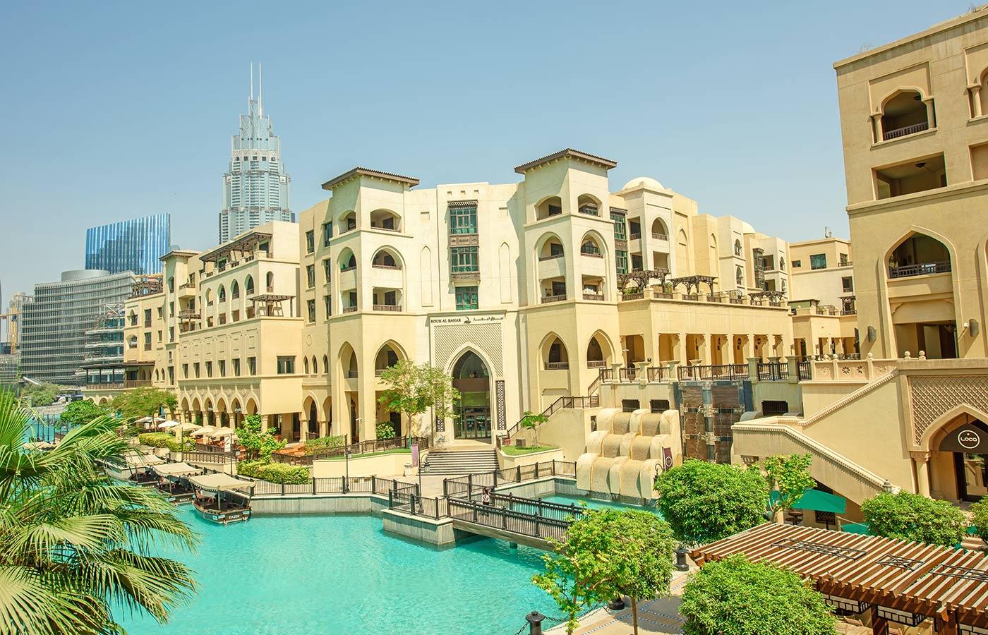 Souk AL Bahar is amidst with Burj Khalifa and the Dubai Mall