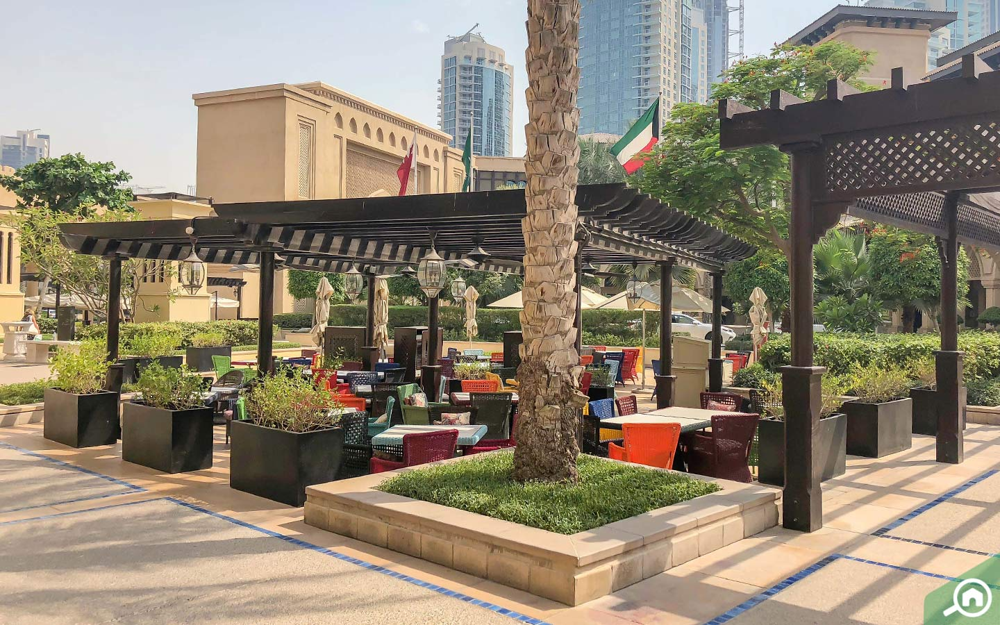 exterior of souk al bahar in dubai