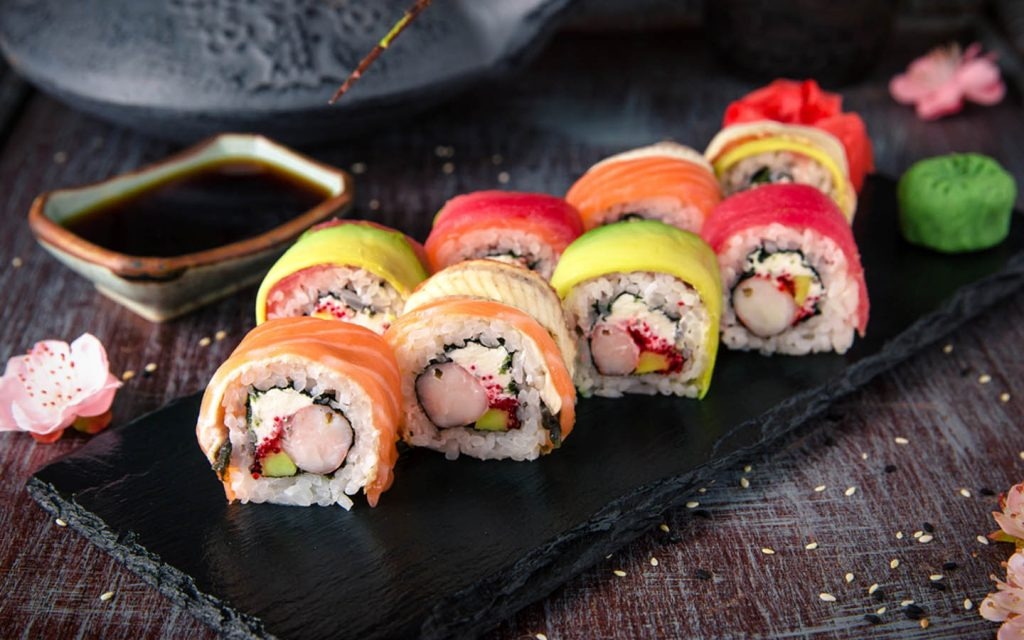 Sushi served on a platter
