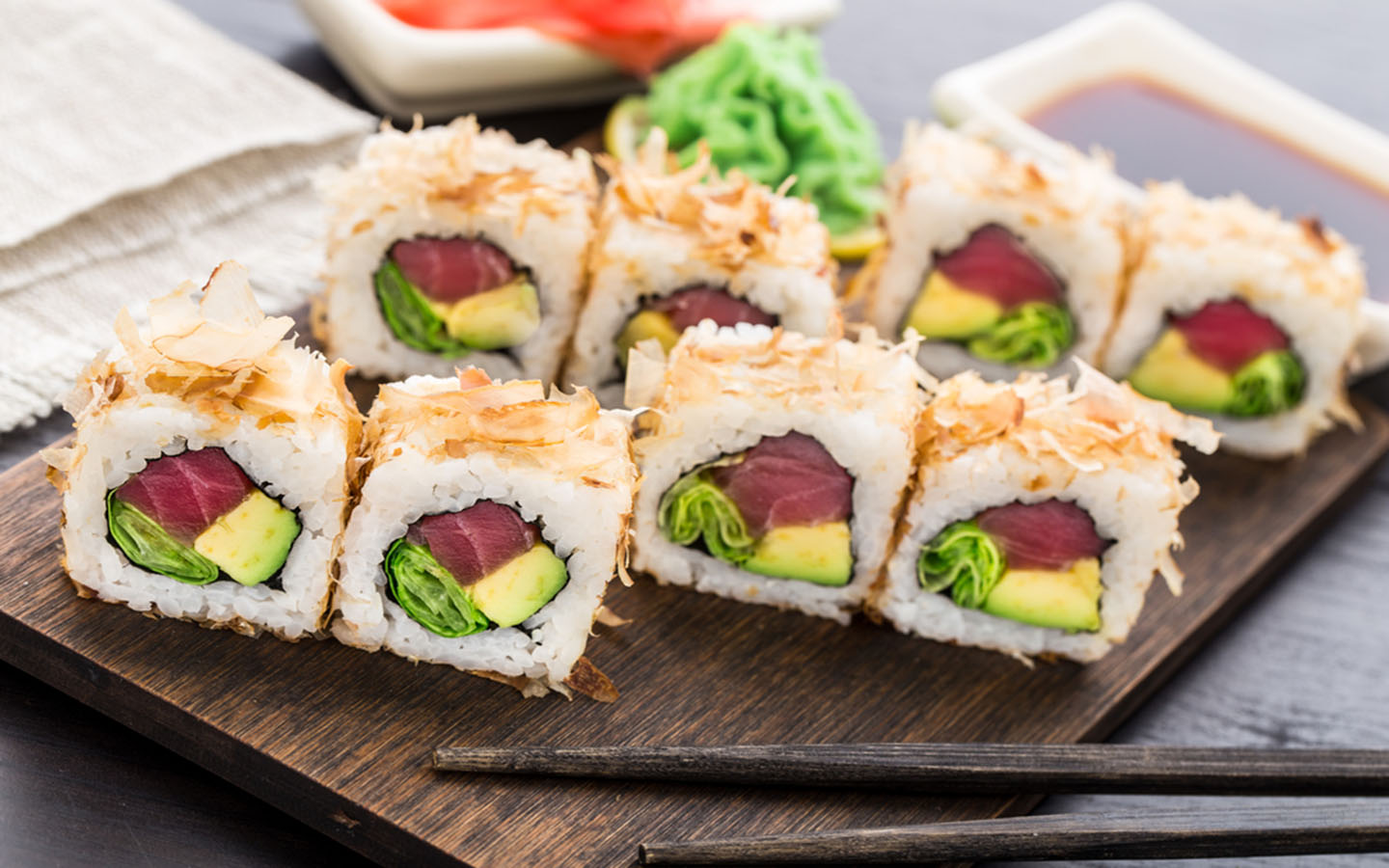 Sushi rolls at the best sushi places in Abu Dhabi