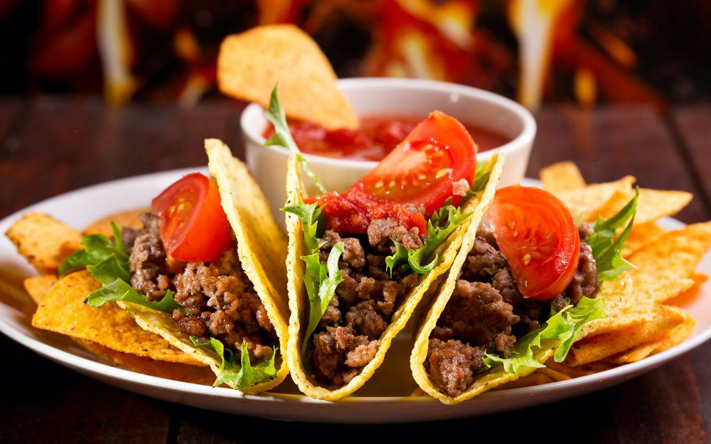 A plate of meat tacos