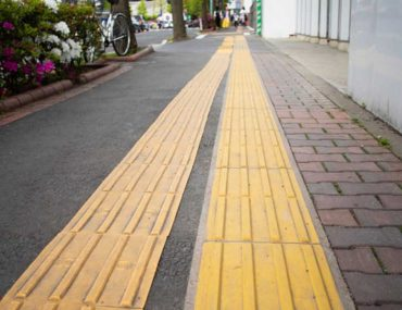 View of tactile paving at a train station