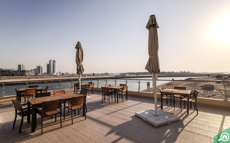 terrace seating at the aquarium in Sharjah