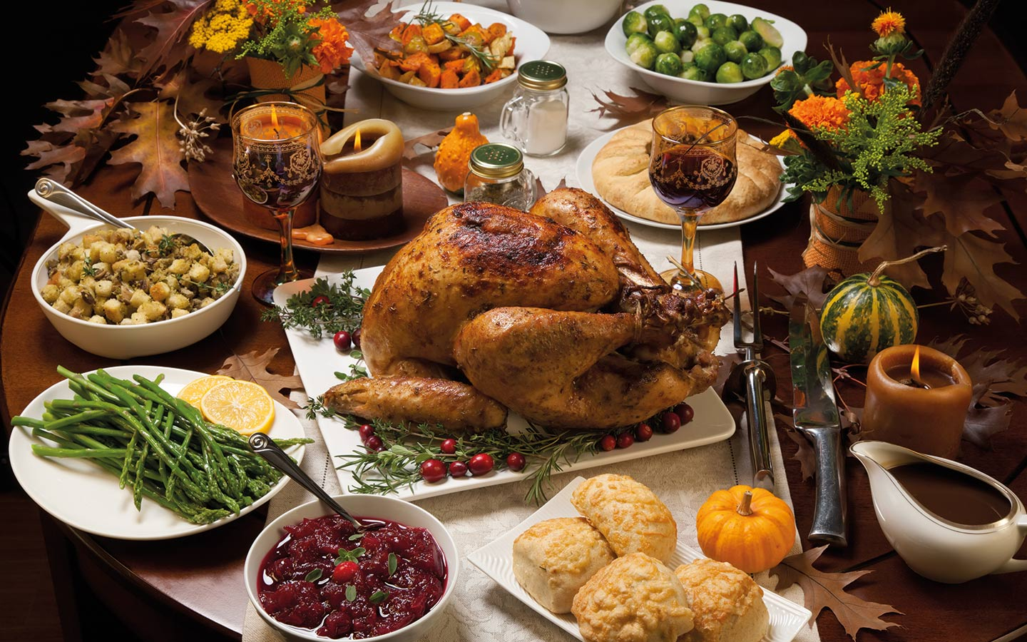 Traditional Thanksgiving meal with turkey