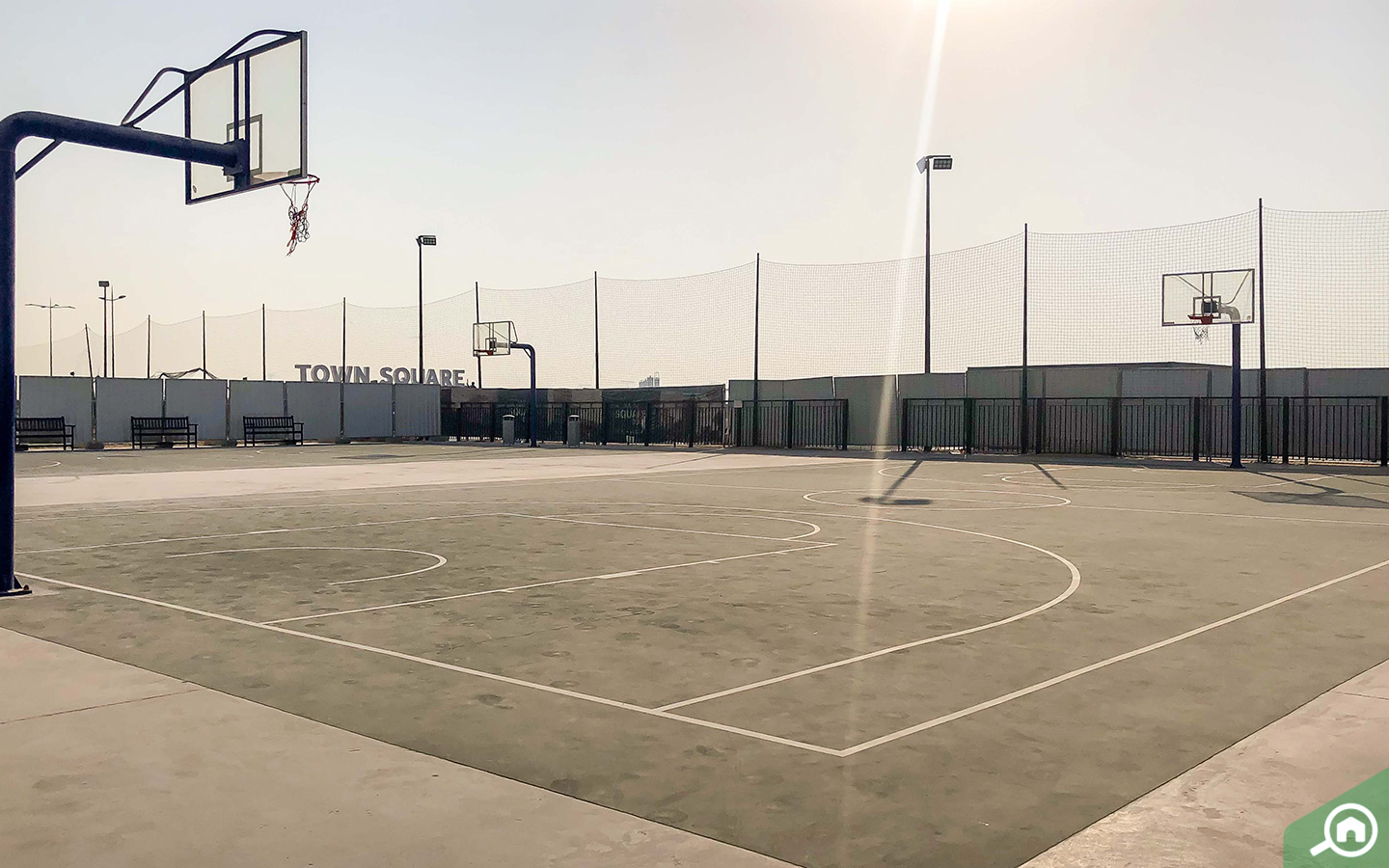View of basketball courts near Nshama townhouses