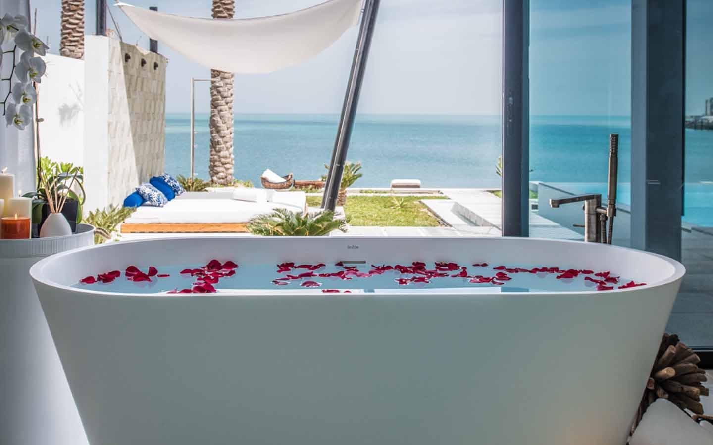 bathtub at zaya nurai beach villa