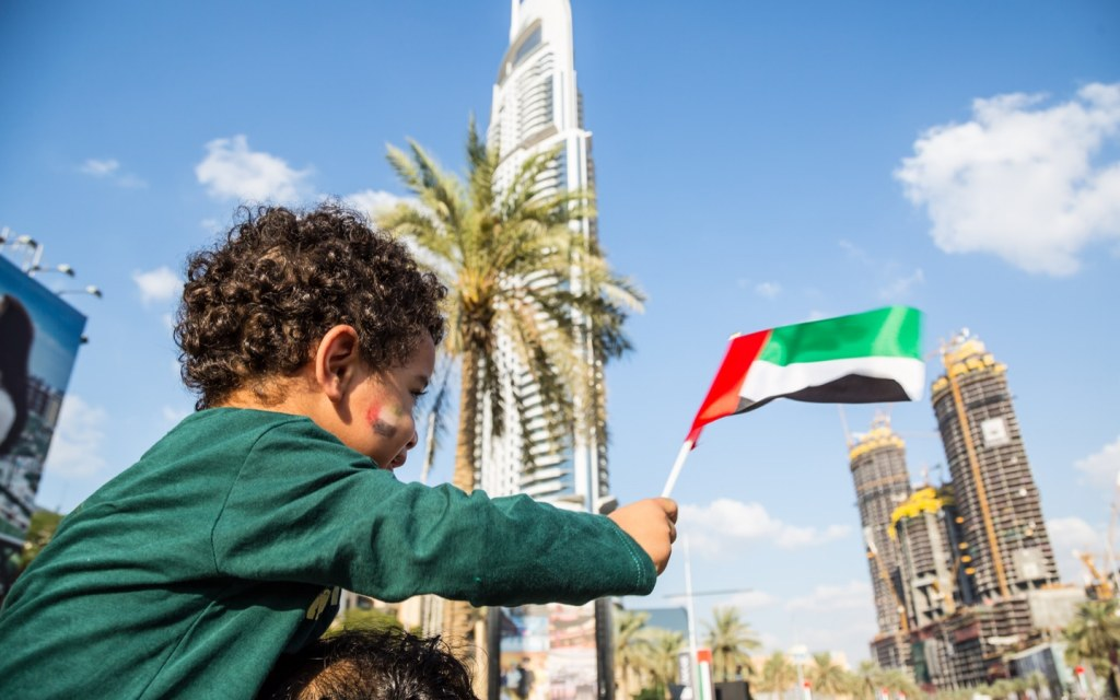 kids celebrating UAE national day in dubai