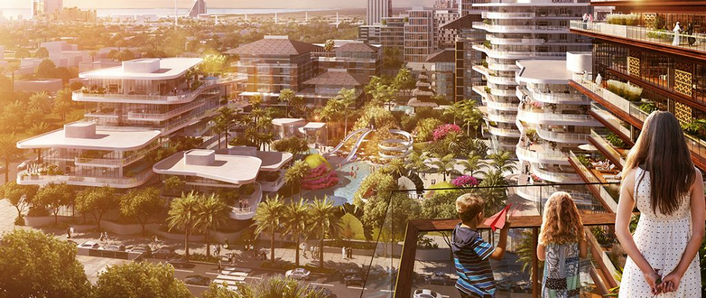 Jumeirah Central planned community in Dubai with futuristic looking buildings and hotels