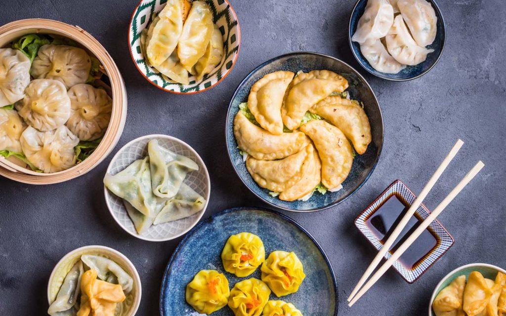 variety of dim sums and dumplings